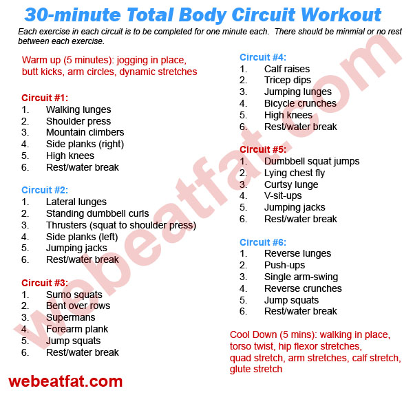 circuit training 30 minute total body workout. Black Bedroom Furniture Sets. Home Design Ideas